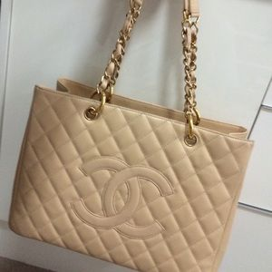 Authentic Chanel Beige Grand Shopping Tote
